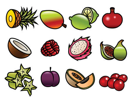 12 cute and colorful cartoon fruit icons  Illustration
