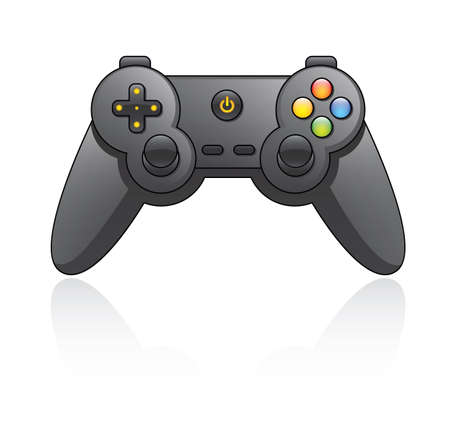Cartoon illustration of a game pad  Vector