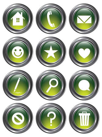 A set of 12 shiny green action buttons with metallic borders