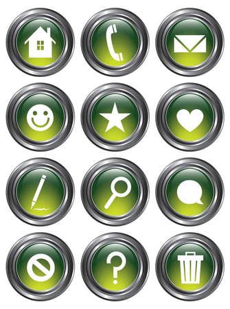 Un conjunto de 12 botones de acción brillantes verdes con bordes metálicos Foto de archivo - 18203923