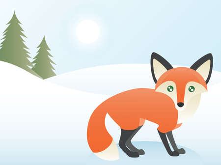 snow track: Greeting card design, a red fox at the edge of a forest