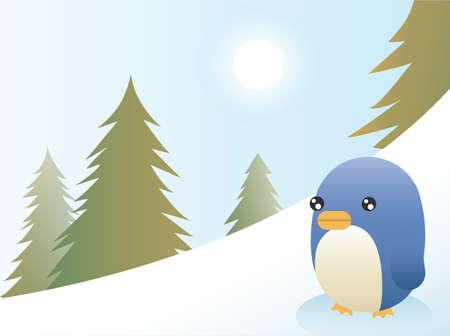 Greeting card design, a penguin on a ski slope
