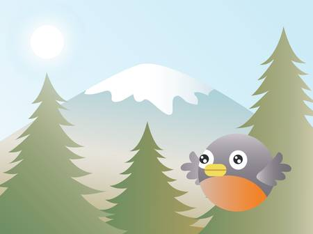 chirp: Greeting card design, a robin flying over a northern forest