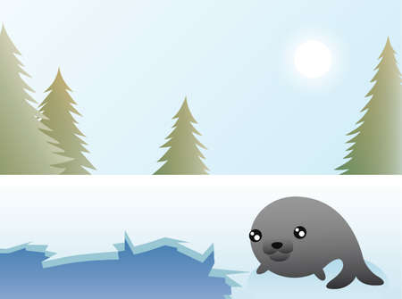 Greeting card design, a seal resting by a hole in the arctic ice  Stock Vector - 18263776