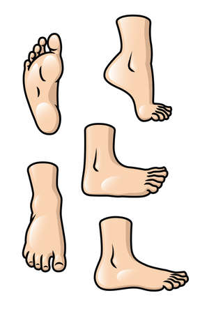 A set of 5 different cartoon feet in various poses  Vector