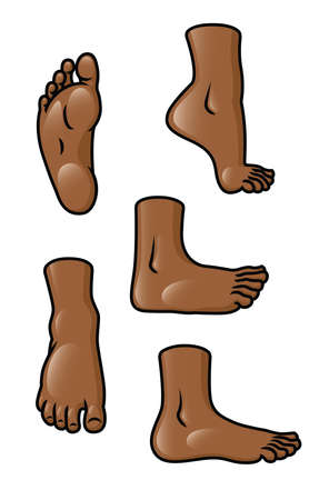human toe: A set of 5 different cartoon feet in various poses