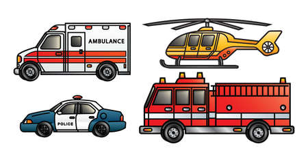 departments: Four illustrations depicting various emergency vehicles