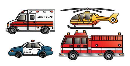 Vier illustraties beeltenis van verschillende voertuigen van hulpdiensten