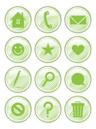 emote: A set of 12 glossy action buttons  Illustration