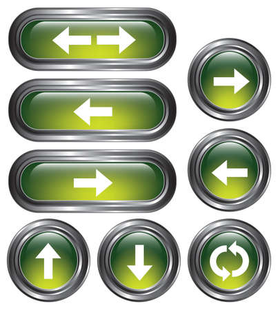 backspace: A set of 8 shiny green arrow buttons with metallic borders  Illustration