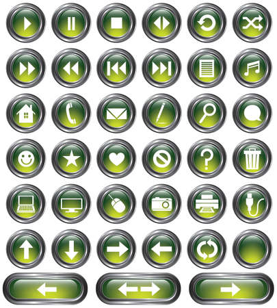 A set of 38 shiny green buttons with metallic borders  Vector