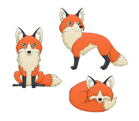 depicting: A set of 3 illustrations depicting depicting a cute red fox cartoon in various poses