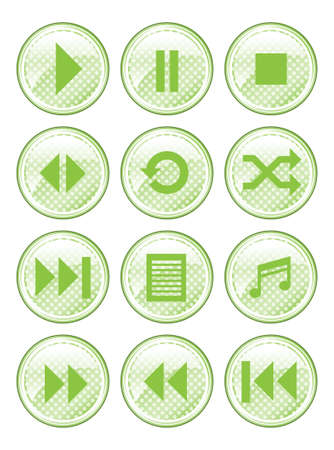 media player: A set of 12 glossy media buttons  Illustration