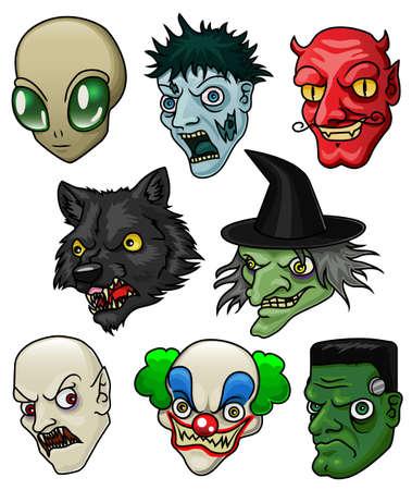 Een verzameling van 8 verschillende Halloween monsters en wezens Stock Illustratie