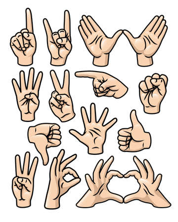 A set of 15 different cartoon hands in various poses  Vector
