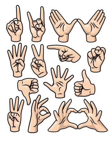 Um conjunto de 15 mãos diferentes dos desenhos animados em várias poses Foto de archivo - 18263818