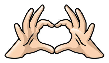 Illustration of a pair of cartoon hands forming a heart  Vector