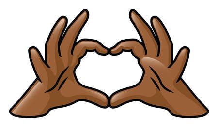 Illustration of a pair of cartoon hands forming a heart  Vectores