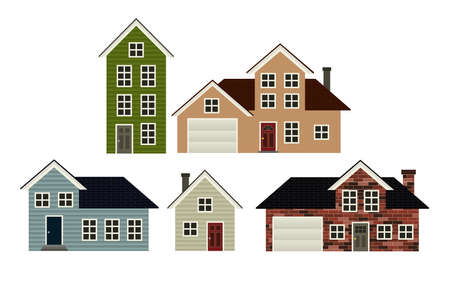 residential neighborhood: A set of 5 simple stylized house illustrations