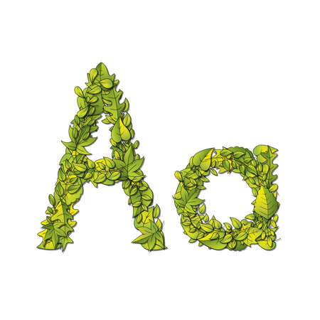 storybook: Leafy storybook font depicting a letter A in upper and lower case