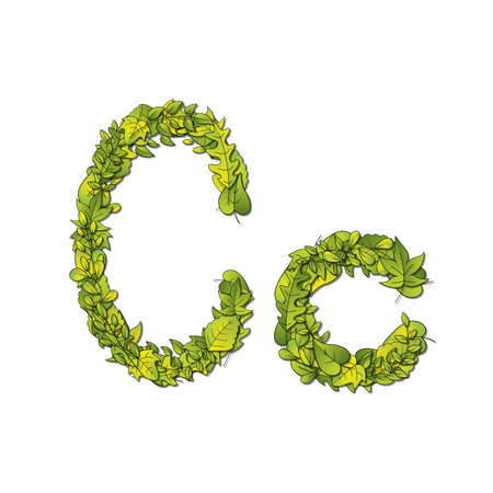 hedge trees: Leafy storybook font depicting a letter C in upper and lower case