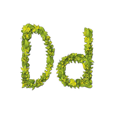 hedge trees: Leafy storybook font depicting a letter D in upper and lower case