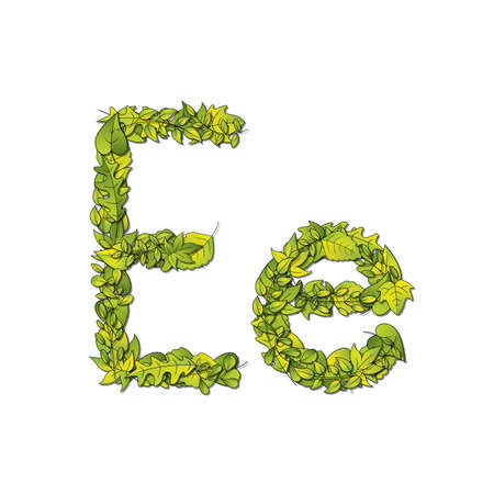 Leafy storybook font depicting a letter E in upper and lower case  Vector