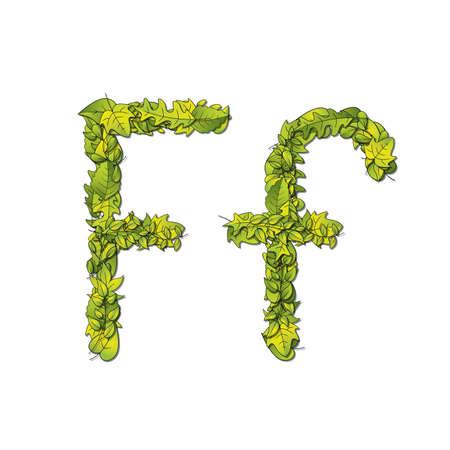 libro de cuentos: Fuente que representa a un libro de cuentos Leafy letra F en may�sculas y min�sculas Vectores