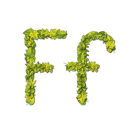 hedge trees: Leafy storybook font depicting a letter F in upper and lower case