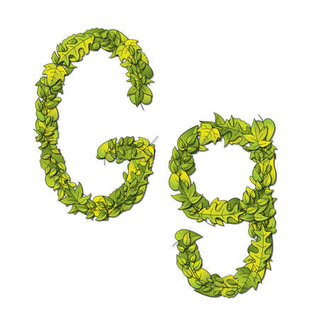 hedge trees: Leafy storybook font depicting a letter G in upper and lower case