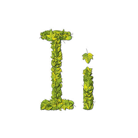 Leafy storybook font depicting a letter I in upper and lower case  Vector