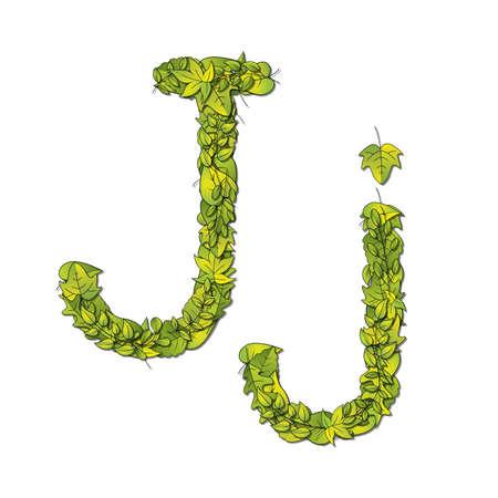 libro de cuentos: Fuente que representa a un libro de cuentos Leafy letra J en may�sculas y min�sculas Vectores