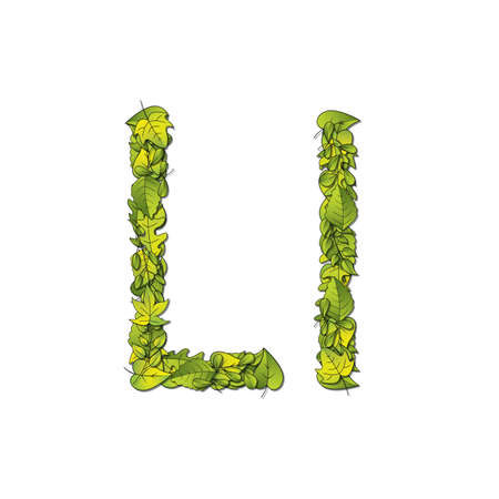Leafy storybook font depicting a letter L in upper and lower case  Vector