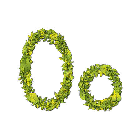 Leafy storybook font depicting a letter O in upper and lower case  Vector