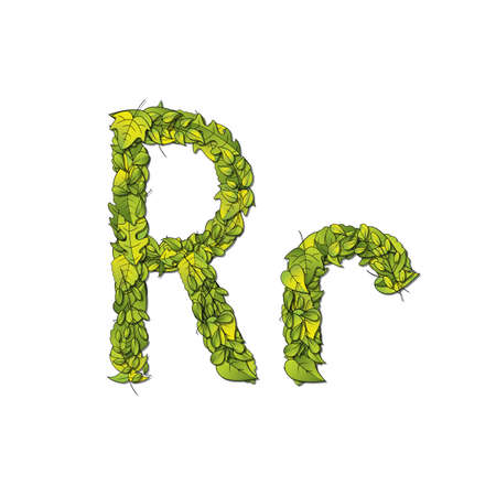 libro de cuentos: Fuente que representa a un libro de cuentos Leafy letra R en may�sculas y min�sculas