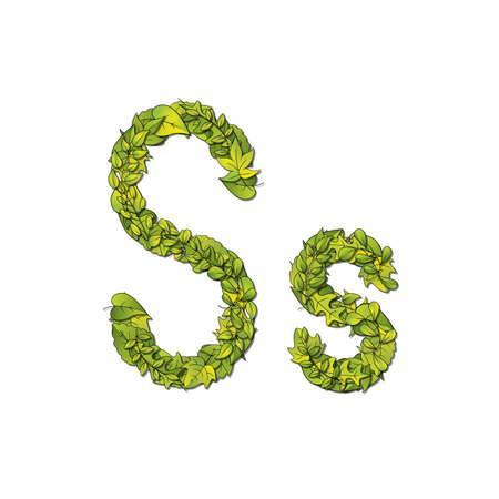 children s book: Leafy storybook font depicting a letter S in upper and lower case  Illustration