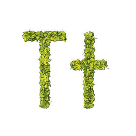 Leafy storybook font depicting a letter T in upper and lower case  Vector