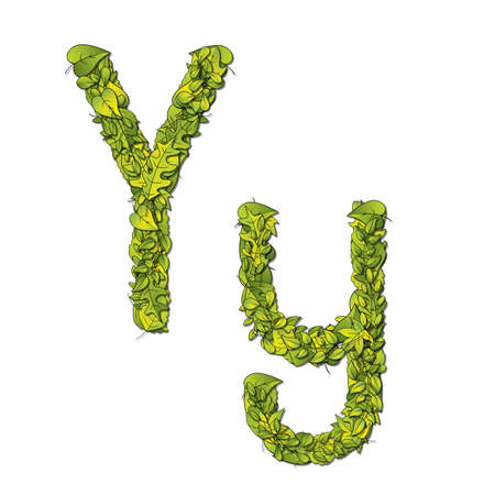 hedge trees: Leafy storybook font depicting a letter Y in upper and lower case