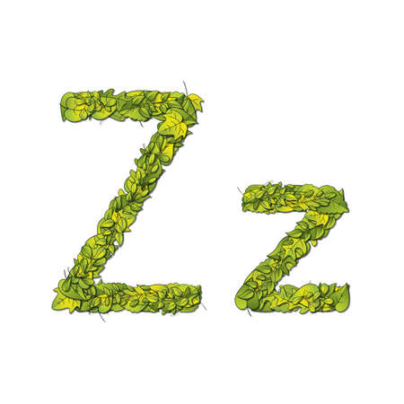 storybook: Leafy storybook font depicting a letter Z in upper and lower case
