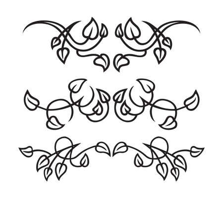 black and white plant: 3 different leaf-themed elements of design  Illustration