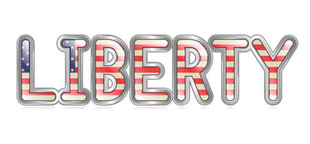 A graphical depiction of the word  Liberty  with an american flag pattern