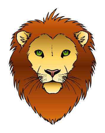 A vector ink illustration of a lion s face