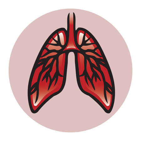 A vector button or icon of a pair of lungs