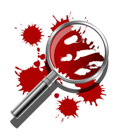 A magnifying glass being used to inspect the bloody evidence of a crime scene