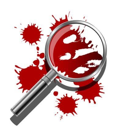 murder scene: Una lupa que se utiliza para inspeccionar las pruebas con sangre de la escena del crimen Vectores