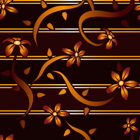 A beautiful oriental style seamless background featuring mahogany and gold stripes with red and orange flowers  Vector