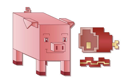 ear drop: A cute square pig next to some square bacon and ham