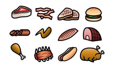 turkey bacon: Un set di 12 icone di simpatici cartoni animati raffiguranti diversi tagli di carne