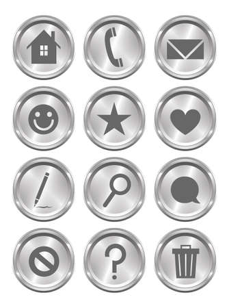 instant message: A set of 12 shiny metallic action buttons