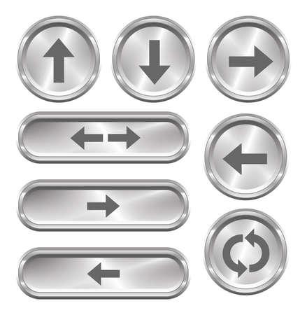 A set of 8 shiny metallic arrow buttons  Vector